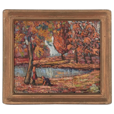 Richard Mouw Impasto Landscape Oil Painting, Mid-20th Century