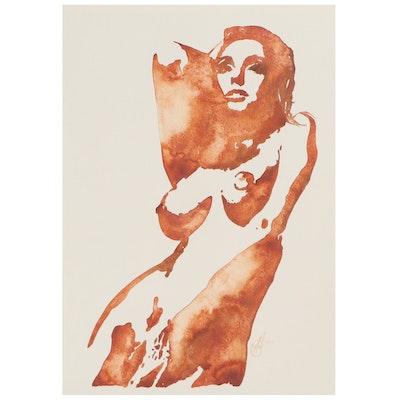 Alyona Glushchenko Figural Watercolor of Female Nude, 2021