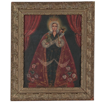 Cuzco School Style Oil Painting of Madonna and Child