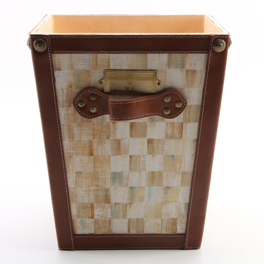 """MacKenzie-Childs """"Parchment Check"""" Canvas and Bonded Leather Hamper"""