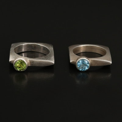 Contemporary Sterling Square Rings with Swiss Blue Topaz and Peridot