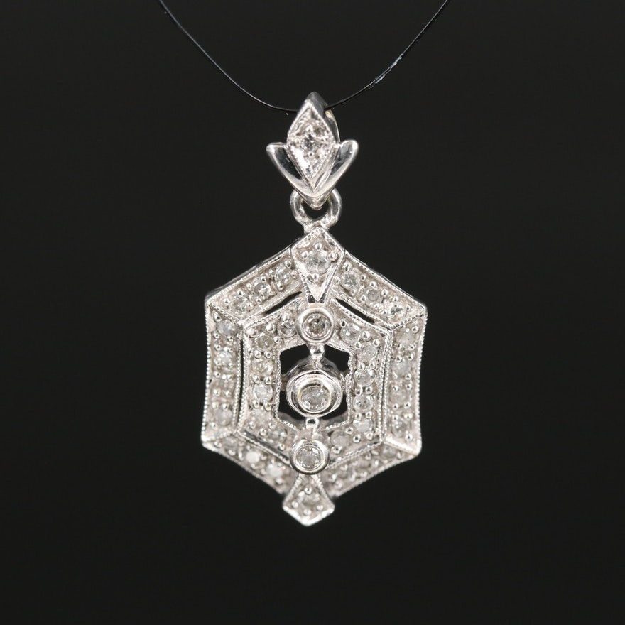 Vintage Style 14K Diamond Pendant with Milgrain Detail