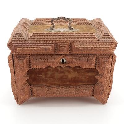 Tramp Art Notched Wood Casket Box