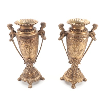 Pair of Rococo Style Gilt Metal Mantel Vases, Early to Mid 20th Century