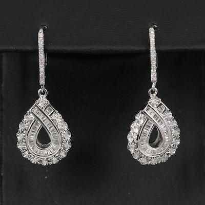 Sterling Silver Diamond Teardrop Earrings