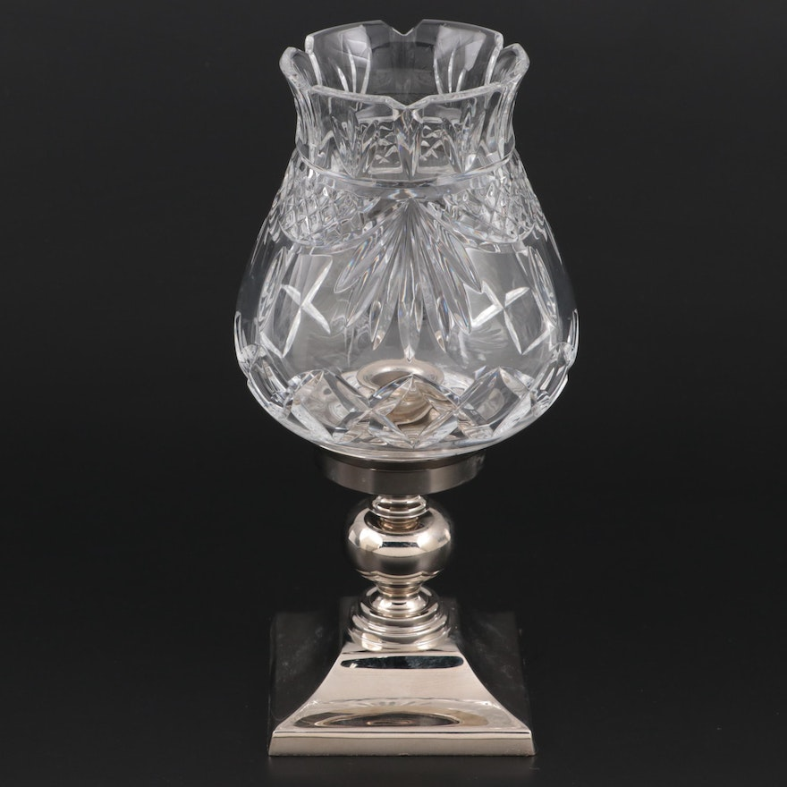 """Waterford Society """"Penrose"""" Crystal and Metal Candle Lamp"""