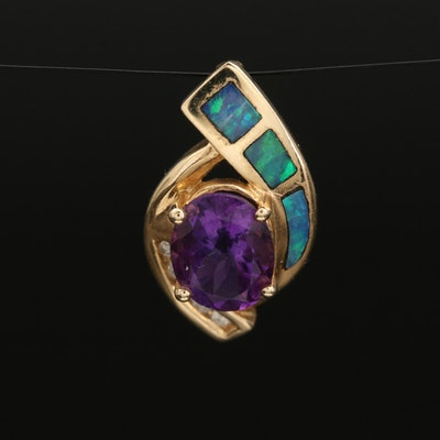 14K Amethyst, Diamond and Opal Pendant