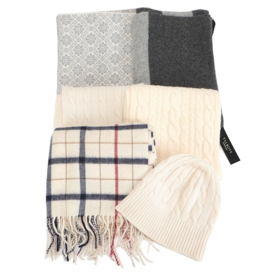 Talbots, Halogen, McDuff, and Dale Norway, Cashmere and Wool Scarves with Hat