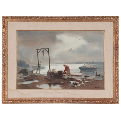 "Harry Russel Ballinger Watercolor Painting ""Lobsterman,"" Mid-20th Century"