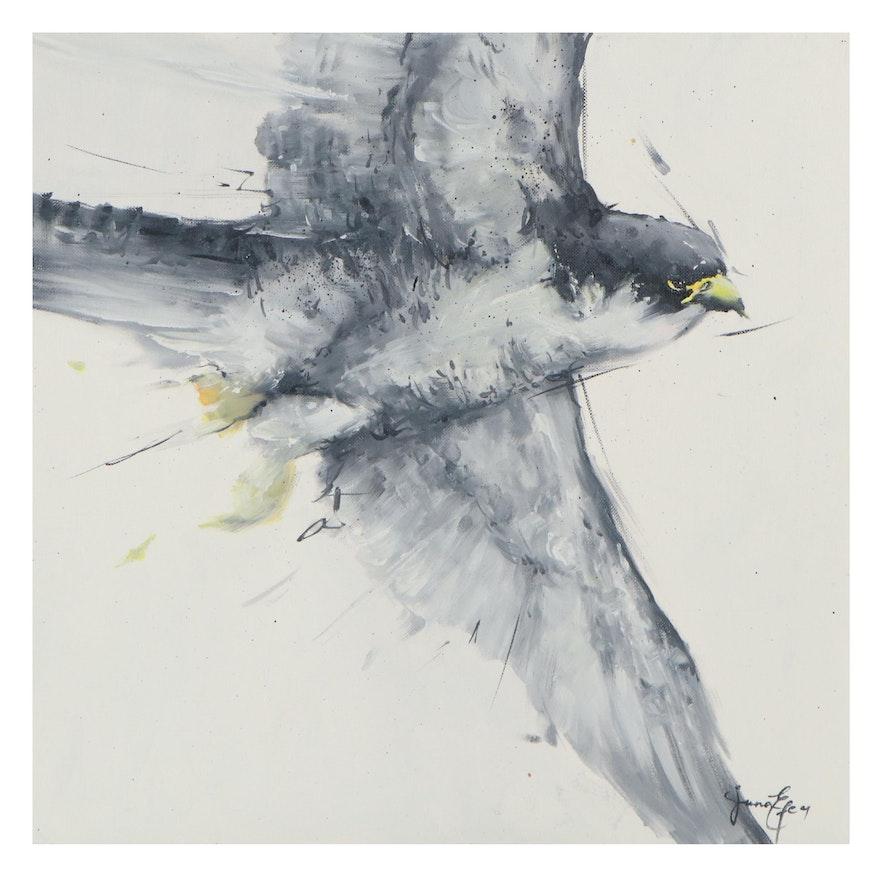 Juna Efe Oil Painting of Bird in Flight, 21st Century