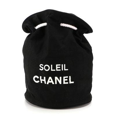 Chanel Soleil Bucket Drawstring Shoulder Bag in Black and White Cotton