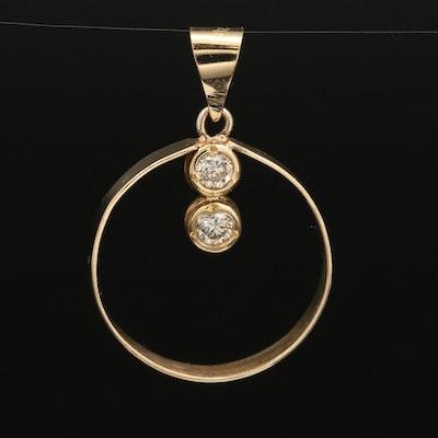14K Diamond Articulated Circle Pendant