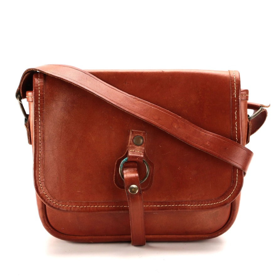 Front Flap Shoulder Bag in Cognac Smooth Leather