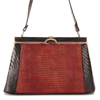 Bicolor Lizard Skin Frame Bag, Mid-20th Century