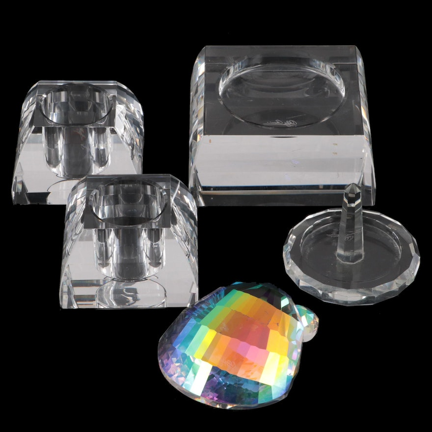 Oleg Cassini Crystal Candle Holders with Ring Stand and Paperweight