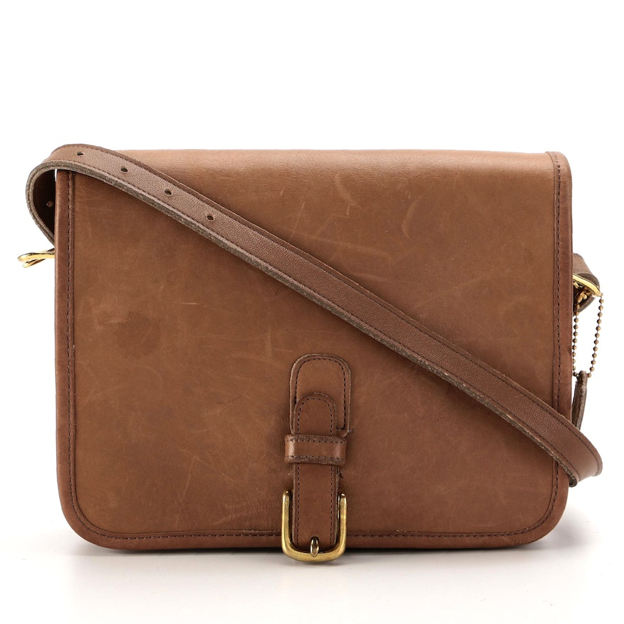 Coach Slim Buckle Pouch Crossbody in Brown Smooth Leather