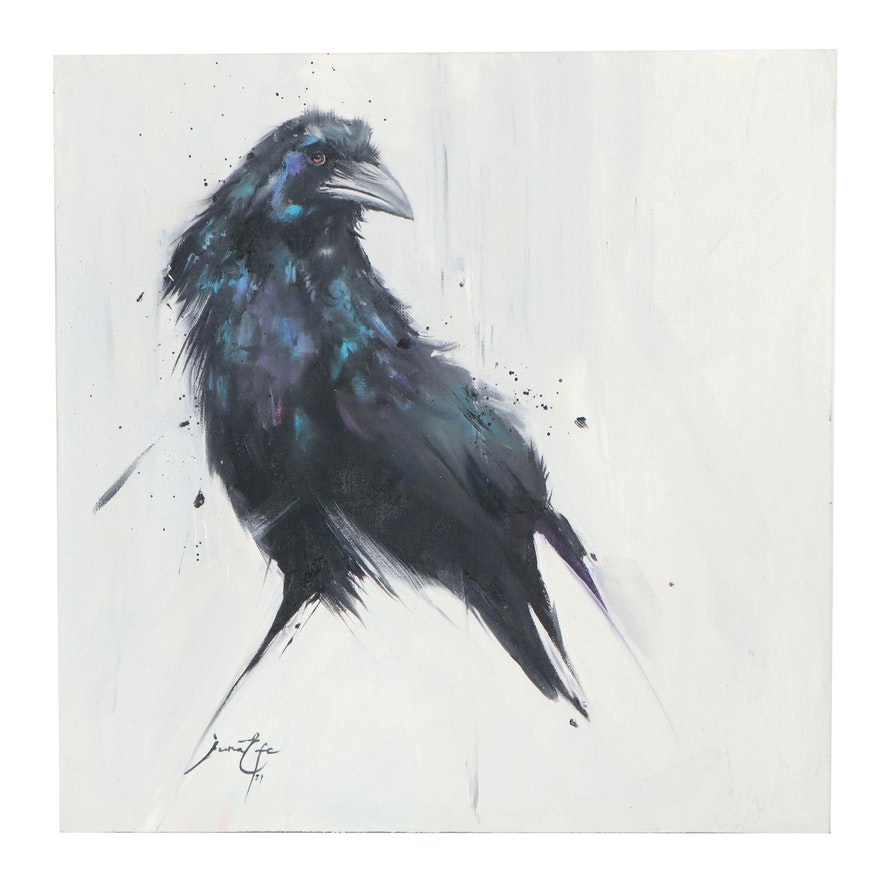 Juna Efe Oil Painting of a Crow, 2021