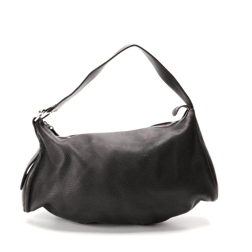 BVLGARI Shoulder Bag in Black Deerskin Leather