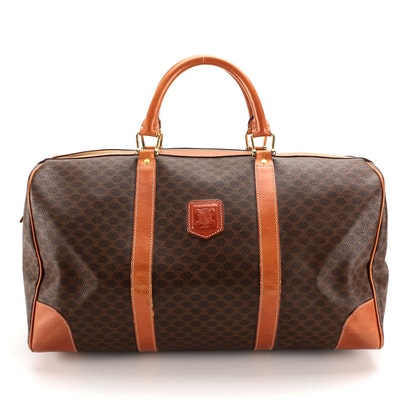 Céline Macadam Canvas and Leather Weekender Bag