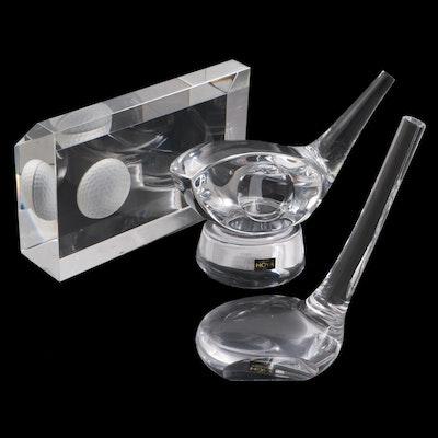 Tiffany & Co., Hoya and Steuben Golf Motif Glass Paperweights