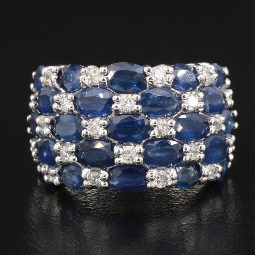 14K Sapphire and Diamond Multi Row Ring