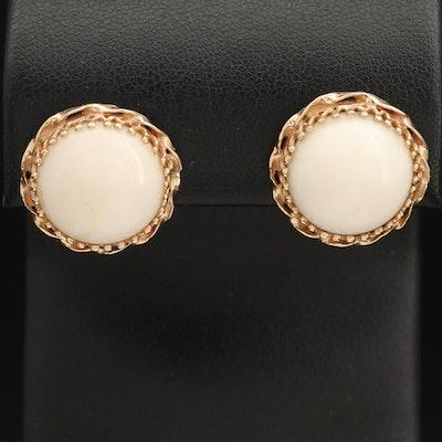 14K Coral Button Earrings