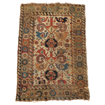 3'3 x 4'11 Hand-Knotted Caucasian Kuba Area Rug, Late 19th to Early 20th Century