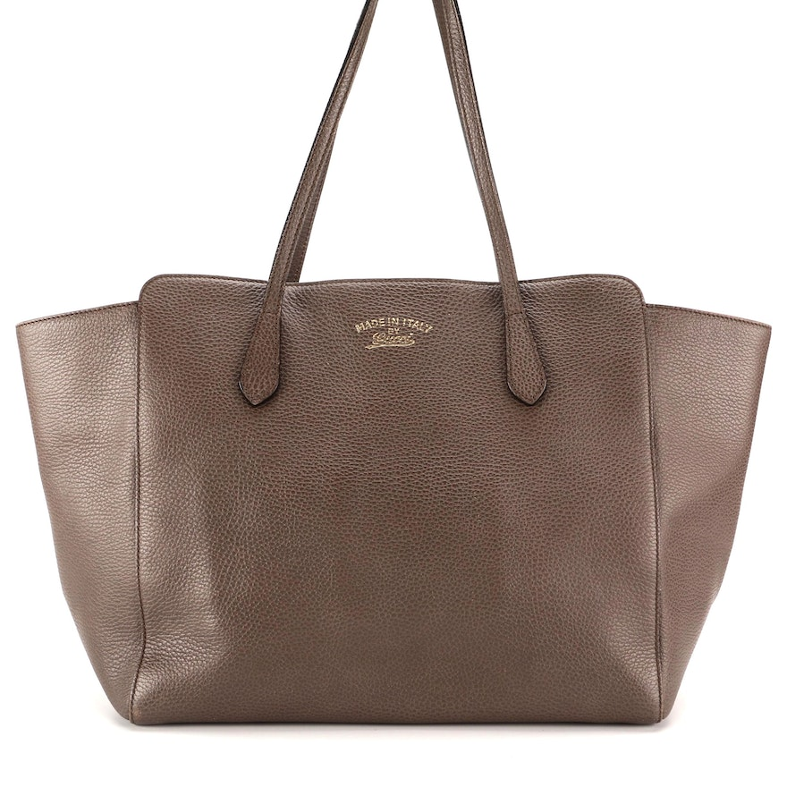 Gucci Swing Tote in Grey and Pink Grained Leather