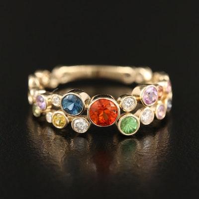 14K Sapphire, Tsavorite and Diamond Ring