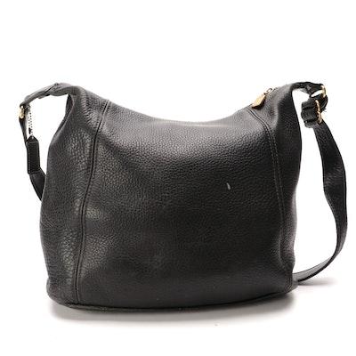 Coach Shoulder Bag in Black Pebble Grain Leather