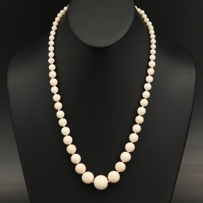 Graduated Coral Necklace with 18K Clasp
