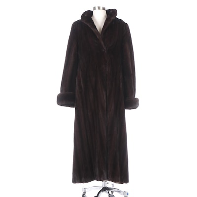 Mahogany Mink Fur Full-Length Coat with Turned-Back Cuffs by HBA New York