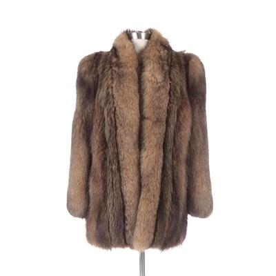 Raccoon Fur Coat with Fox Trim from Wrubel & Kozin