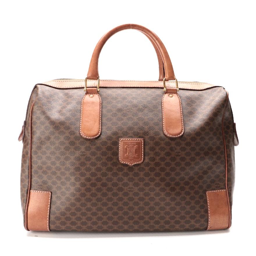 Celine Weekender Bag in Macadam Canvas and Cognac Leather