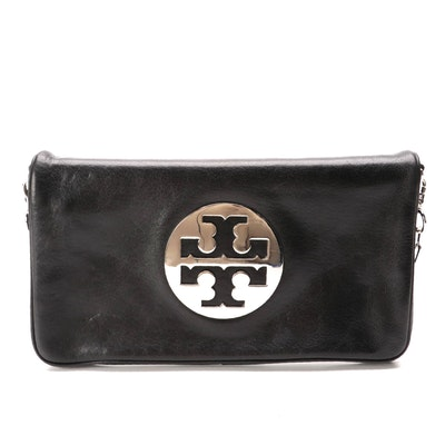 Tory Burch Logo Black Leather Flap Front Bag with Chain Link and Leather Strap