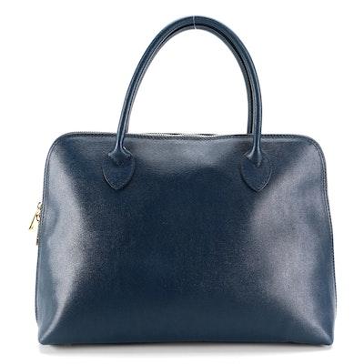 Navy Blue Italian Cross Grain Leather Top Handle Bag