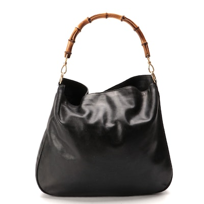Gucci Hobo Bag in Black Leather with Bamboo Handle