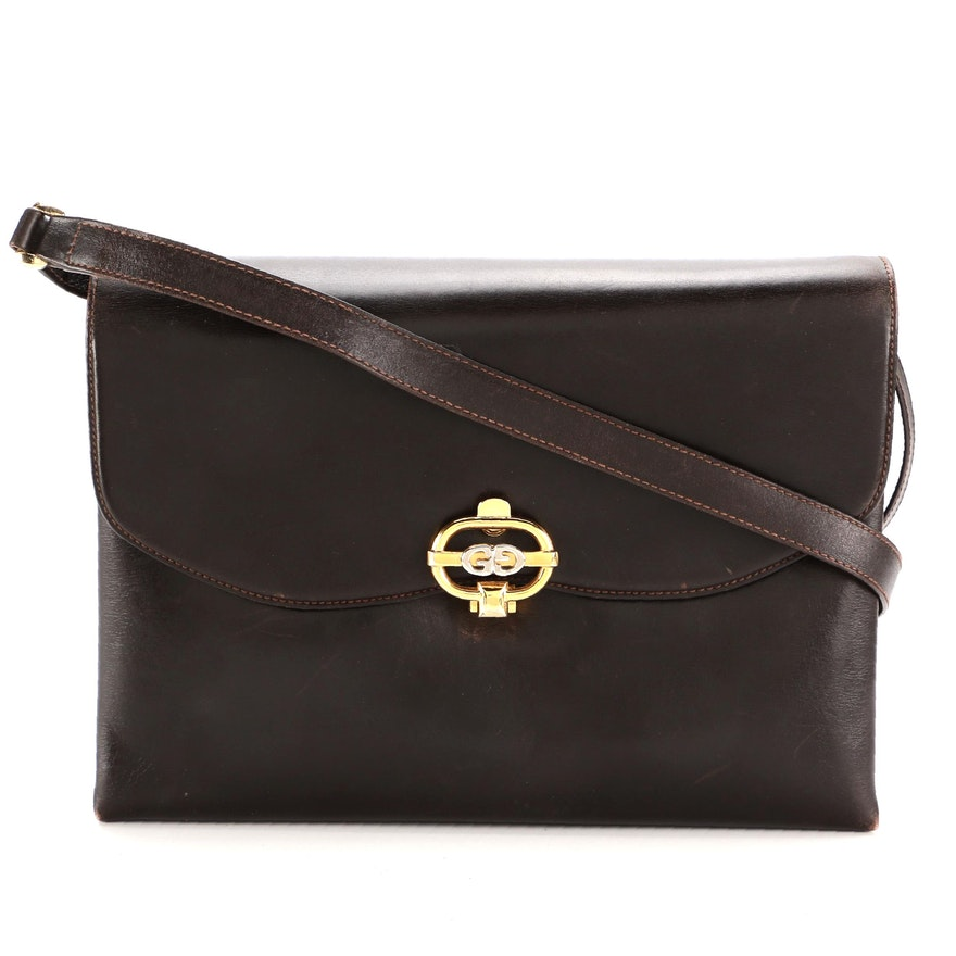 Gucci Front Flap Shoulder Bag in Dark Brown Smooth Leather