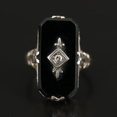 Art Deco 14K Black Onyx and Diamond Openwork Ring