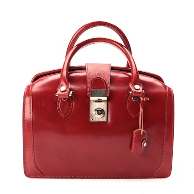 Chic et Mode Italian Leather Doctor Bag Style Satchel