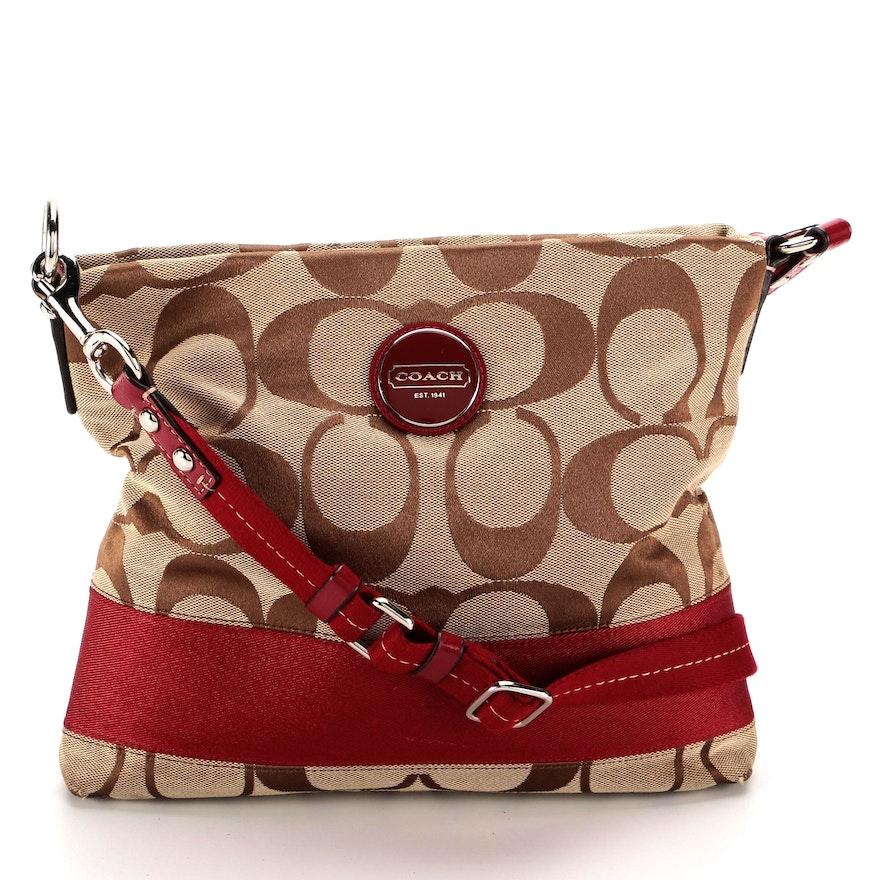 Coach File Signature Stripe Crossbody Bag with Leather Trim