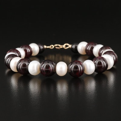 Garnet and Pearl Bracelet with 14K Clasp