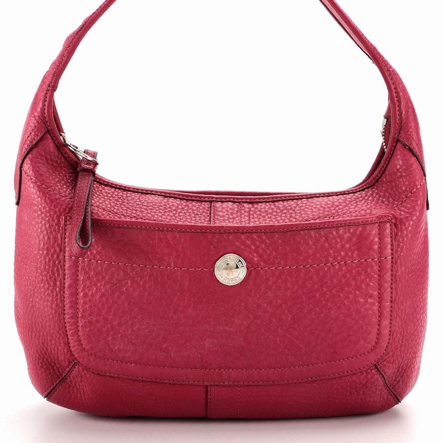 Coach Hobo Bag in Dark Pink Pebbled Leather