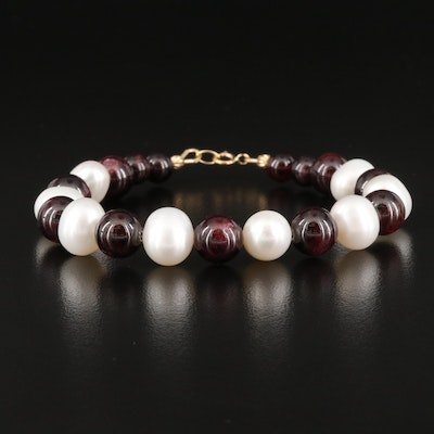 Garnet and Pearl Bracelet with 18K Clasp