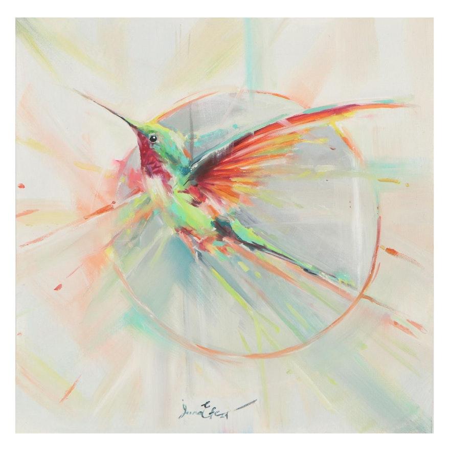 Juna Efe Acrylic Painting of Hummingbird, 2021