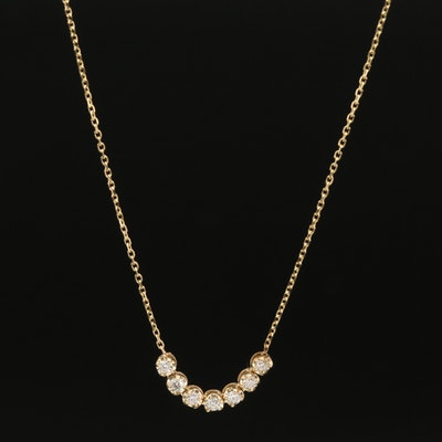 14K Diamond Stationary Pendant Necklace