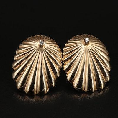 14K Diamond Scalloped Earrings