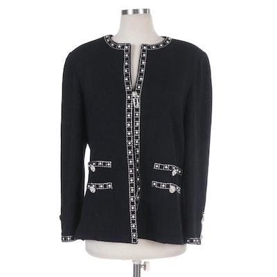 St. John Evening Embellished Black Knit Jacket