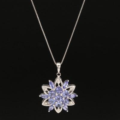 Sterling  Silver Tanzanite and Diamond Starburst Pendant Necklace