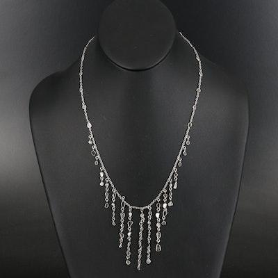 Sterling and Diamond Slice Fringe Necklace